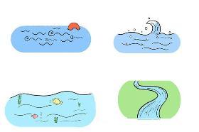 大自然简笔画素材 山水河流任逍遥