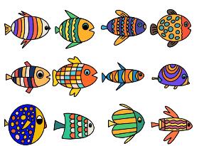 彩色鱼简笔画