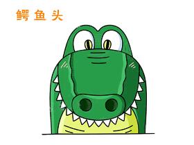 鳄鱼头像简笔画