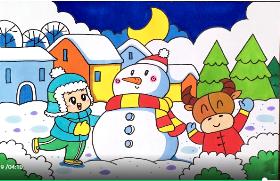 2021年冬天堆雪人简笔画
