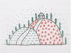 山顶上的小屋简笔画 红花绿树青草