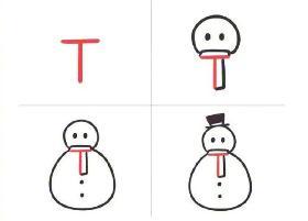 用英文字母T画雪人简笔画的步骤
