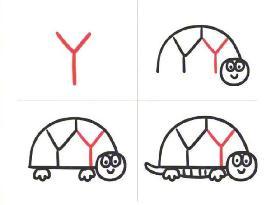 教你用英文字母Y画乌龟的简笔画
