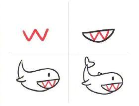 英文字母W画鲸鱼的简笔画 鲸鱼怎么画漂亮又简单