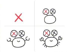 用英文字母X画螃蟹的简笔画