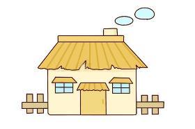 炊烟袅袅的农家小屋简笔画图片