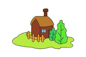 有篱笆栅栏的小房子简笔画
