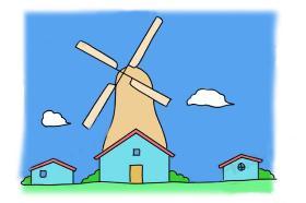 儿童风车房子简笔画