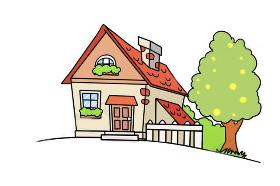 带小院子的漂亮房子简笔画
