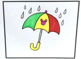 彩色小雨伞简笔画