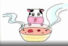 小牛喝腊八粥简笔画
