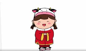 2021牛年小女孩简笔画