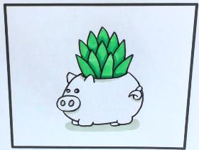 可爱小猪盆栽简笔画