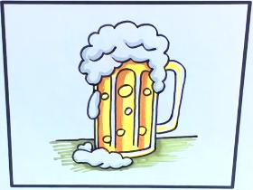 一杯啤酒简笔画