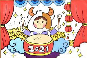 2021年牛年卡通简笔画