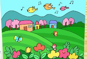 2021年春天风景简笔画