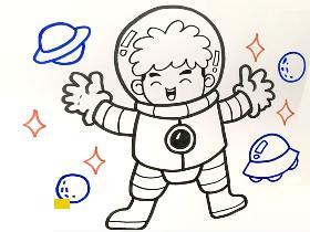 2021年遨游太空的宇航员简笔画